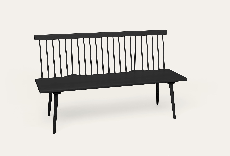 Alt Text: Along bench, Birch. lacquered black. Height: 87cm Depth: 52cm Lenght: 150cm. Design: Marten Cyren.